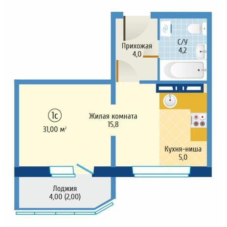 Вариант №6087, 1-комнатная квартира в жилом комплексе