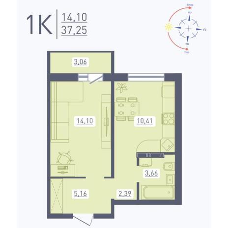 Вариант №5566, 1-комнатная квартира в жилом комплексе