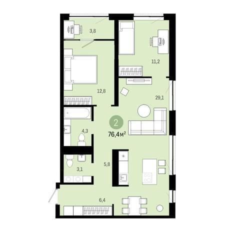 Вариант №6401, 3-комнатная квартира в жилом комплексе