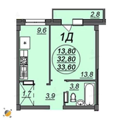 Вариант №2356, 1-комнатная квартира в жилом комплексе