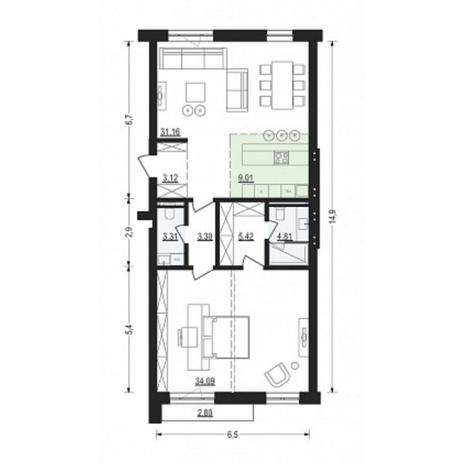 Вариант №4917, 2-комнатная квартира в жилом комплексе