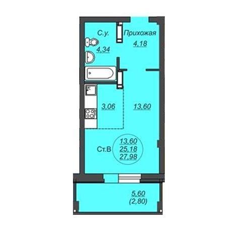 Вариант №4922, 1-комнатная квартира в жилом комплексе