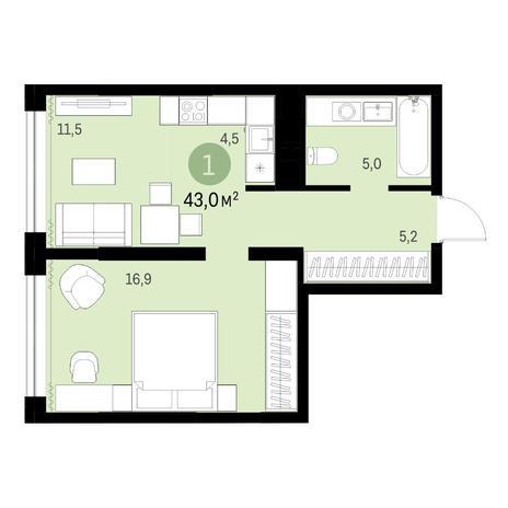 Вариант №6333, 2-комнатная квартира в жилом комплексе