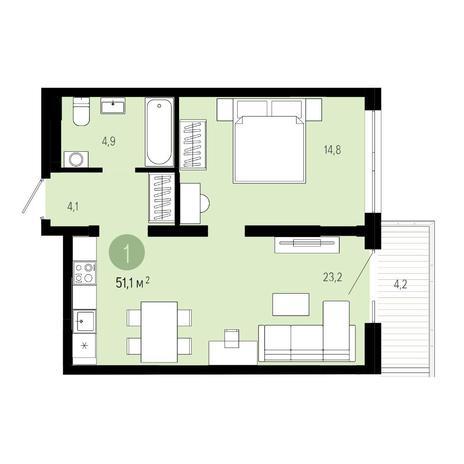 Вариант №4835, 2-комнатная квартира в жилом комплексе Европейский Берег