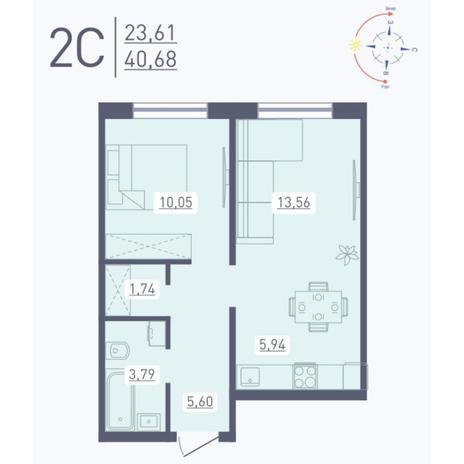 Вариант №5564, 2-комнатная квартира в жилом комплексе