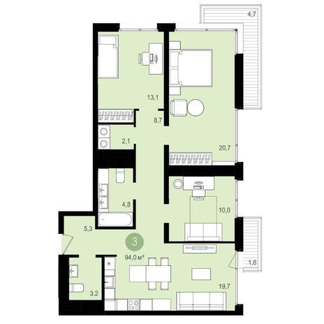 Вариант №4158, 4-комнатная квартира в жилом комплексе Европейский Берег
