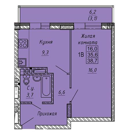 Вариант №3274, 1-комнатная квартира в жилом комплексе Ника