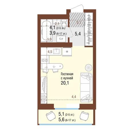 Вариант №4220, 1-комнатная квартира в жилом комплексе Акварельный 3.0