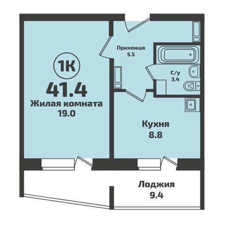 Вариант №5703, 1-комнатная квартира в жилом комплексе Ясный берег