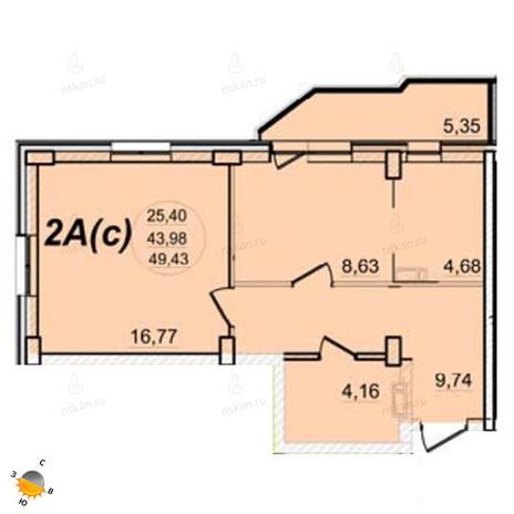 Вариант №1397, 2-комнатная квартира в жилом комплексе РэдФокс