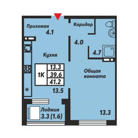 Вариант №3669, 1-комнатная квартира в жилом комплексе