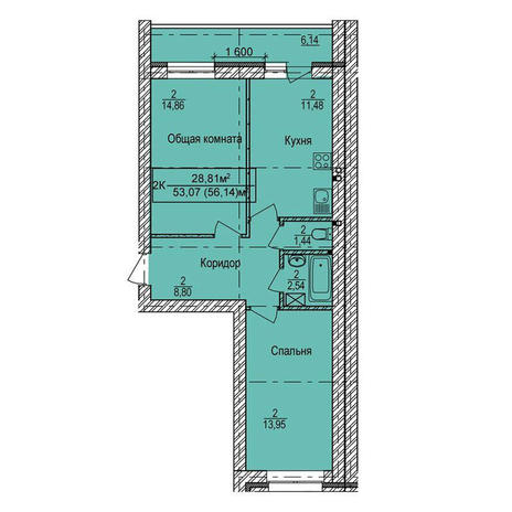 Вариант №3979, 2-комнатная квартира в жилом комплексе Крымский