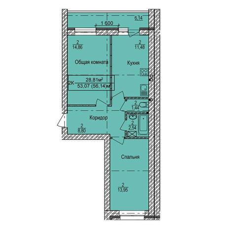 Вариант №3333, 2-комнатная квартира в жилом комплексе