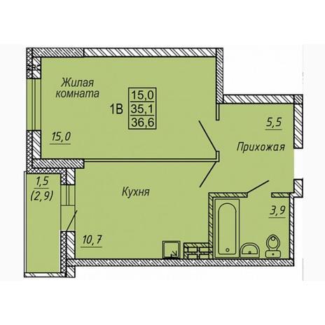 Вариант №5315, 1-комнатная квартира в жилом комплексе