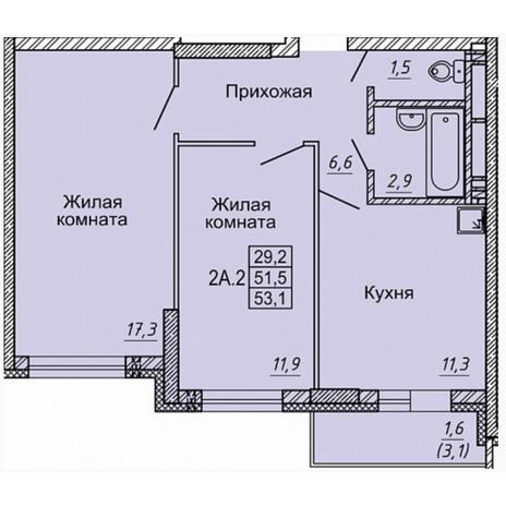 Вариант №5329, 2-комнатная квартира в жилом комплексе Матрешкин двор
