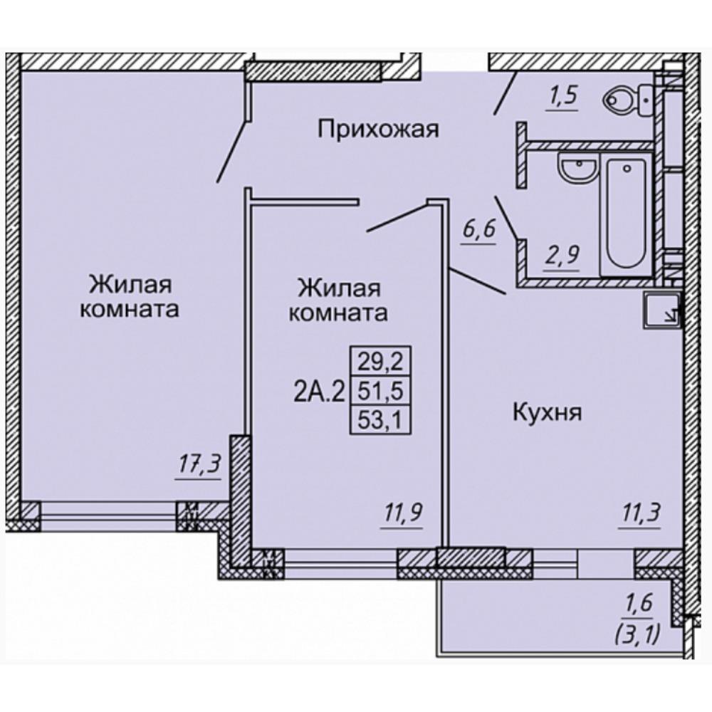 Планировка 2-комнатная площадью 53.1 м<sup>2</sup> в ЖК Матрешкин двор