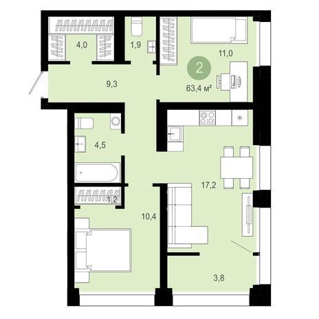 Вариант №4032, 3-комнатная квартира в жилом комплексе