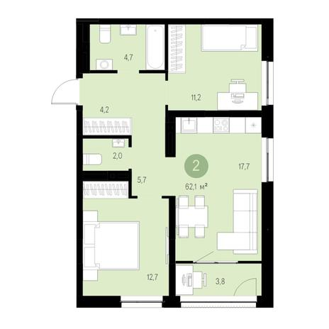 Вариант №4684, 3-комнатная квартира в жилом комплексе