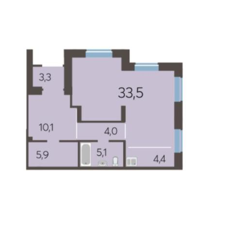 Вариант №5984, 2-комнатная квартира в жилом комплексе