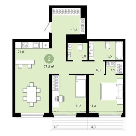 Вариант №4092, 3-комнатная квартира в жилом комплексе Европейский Берег