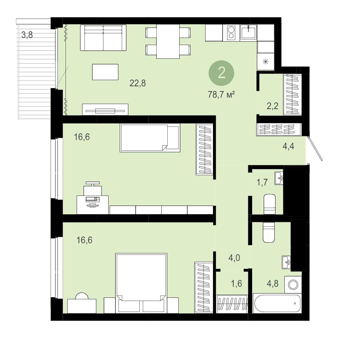 Планировка 3-комн. студия площадью 78.7 м<sup>2</sup> в ЖК Европейский Берег