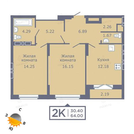 Вариант №1353, 2-комнатная квартира в жилом комплексе Дом на Садовой
