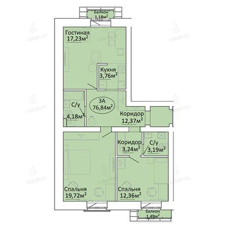 Вариант №2190, 3-комнатная квартира в жилом комплексе Малахит
