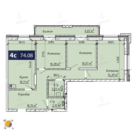 Вариант №1855, 4-комнатная квартира в жилом комплексе На Лежена