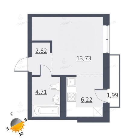 Вариант №1631, 1-комнатная квартира в жилом комплексе Чистая Слобода