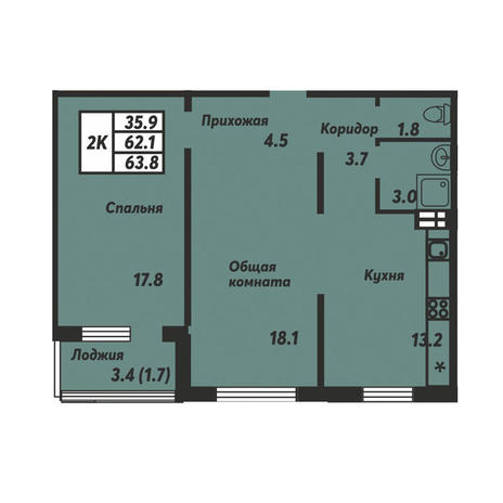 Вариант №3676, 2-комнатная квартира в жилом комплексе Галактика
