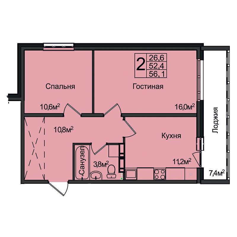 Планировка 2-комнатная площадью 56.1 м<sup>2</sup> в ЖК Венеция