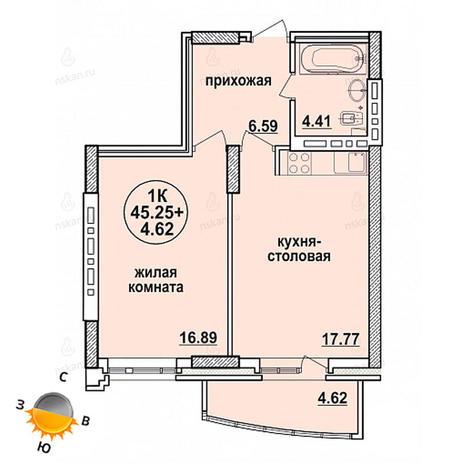 Вариант №1332, 2-комнатная квартира в жилом комплексе Заельцовский