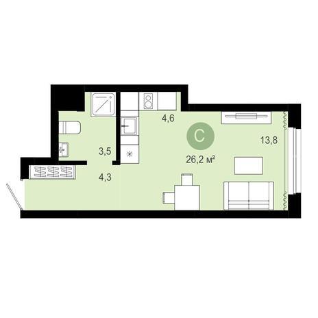 Вариант №4061, 1-комнатная квартира в жилом комплексе Ключевой