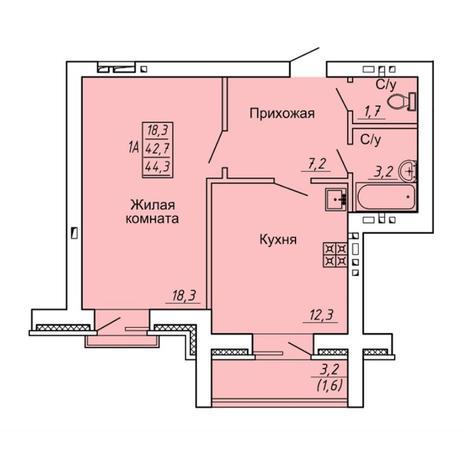 Вариант №4304, 1-комнатная квартира в жилом комплексе Свобода