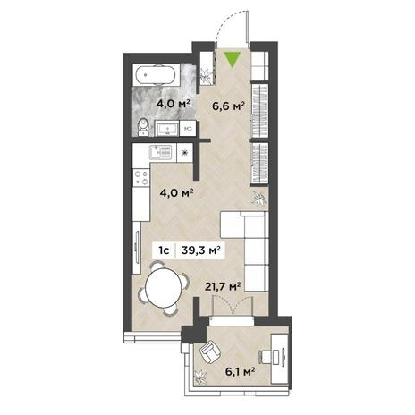 Вариант №5850, 1-комнатная квартира в жилом комплексе