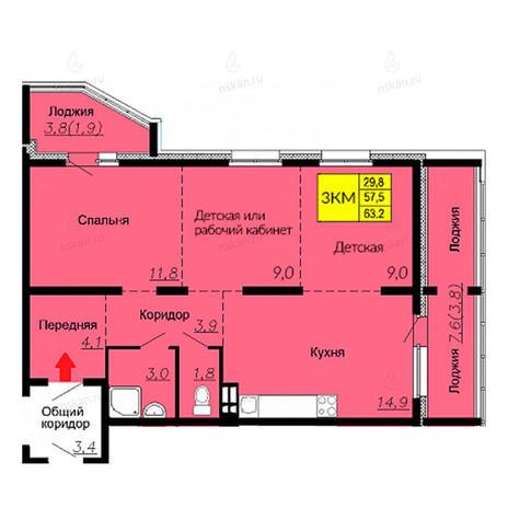 Вариант №2590, 3-комнатная квартира в жилом комплексе