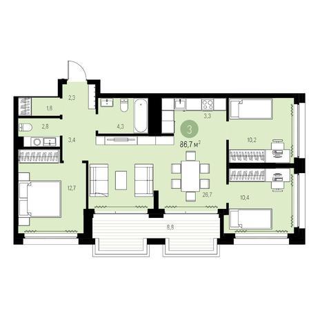 Вариант №5460, 4-комнатная квартира в жилом комплексе