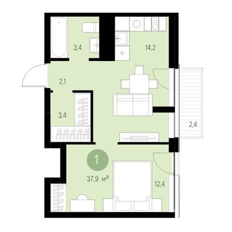 Вариант №4654, 2-комнатная квартира в жилом комплексе Европейский Берег