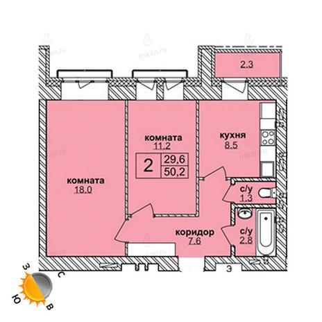 Вариант №1608, 2-комнатная квартира в жилом комплексе Чистая Слобода