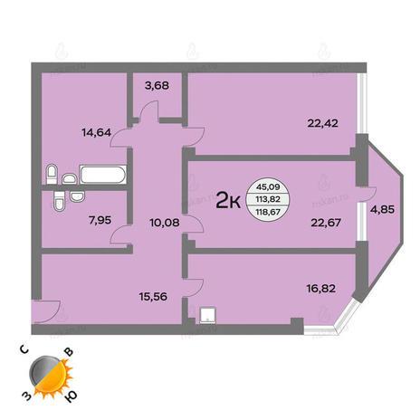 Вариант №1437, 3-комнатная квартира в жилом комплексе Фианит