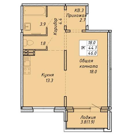 Вариант №6456, 1-комнатная квартира в жилом комплексе