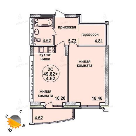 Вариант №622, 2-комнатная квартира в жилом комплексе Заельцовский