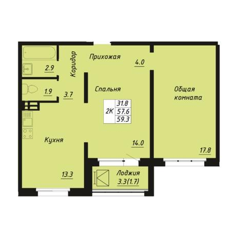 Вариант №5268, 2-комнатная квартира в жилом комплексе