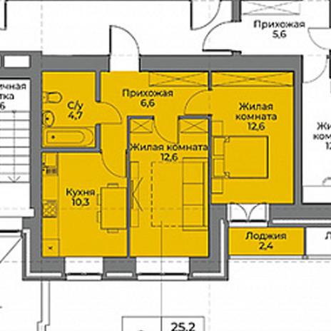 Вариант №3968, 2-комнатная квартира в жилом комплексе