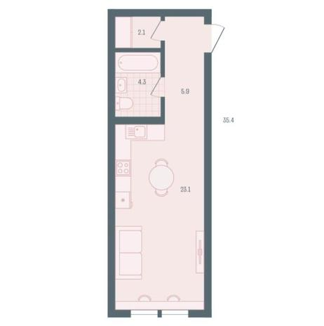 Вариант №5469, 1-комнатная квартира в жилом комплексе Чистая Слобода
