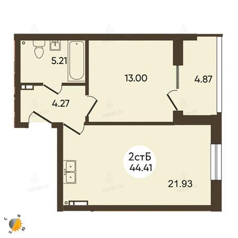 Вариант №2107, 2-комнатная квартира в жилом комплексе История
