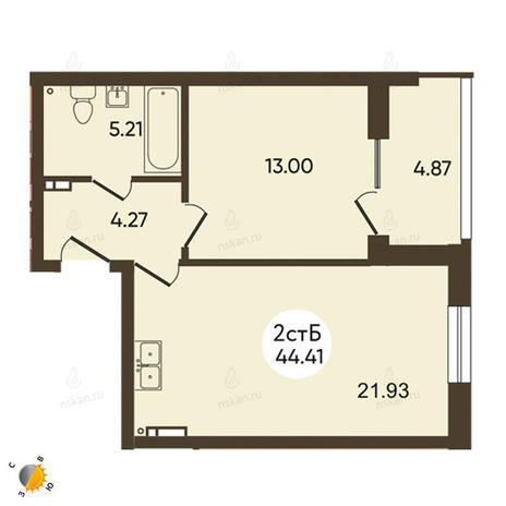 Вариант №2107, 2-комнатная квартира в жилом комплексе