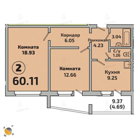 Вариант №2527, 2-комнатная квартира в жилом комплексе