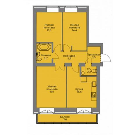 Вариант №4407, 3-комнатная квартира в жилом комплексе Эскимо