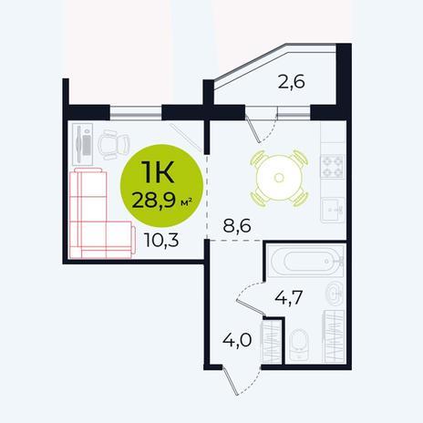 Вариант №4105, 1-комнатная квартира в жилом комплексе Весна